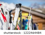 image of multi colored skis in...   Shutterstock . vector #1222464484