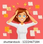 Stressed Cartoon Business Woman ...