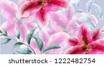 lily flowers watercolor banner... | Shutterstock .eps vector #1222482754