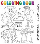 coloring book african nature... | Shutterstock .eps vector #1222488697