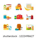 collection of lunch boxes for... | Shutterstock .eps vector #1222498627