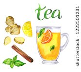 cup of herbal mint and orange... | Shutterstock . vector #1222501231