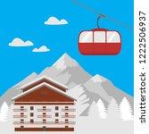 ski resort vacation  winter... | Shutterstock .eps vector #1222506937