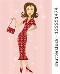 illustration of woman in retro...   Shutterstock . vector #122251474