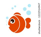 cute fish with bubble cartoon.... | Shutterstock .eps vector #1222514947