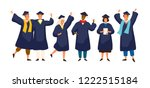 group of happy graduated... | Shutterstock .eps vector #1222515184