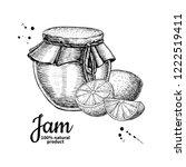 lemon jam glass jar drawing.... | Shutterstock . vector #1222519411