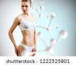 woman with perfect body near... | Shutterstock . vector #1222525801