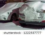 cars are covered with snow... | Shutterstock . vector #1222537777