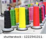 colorful wool and bobbins with... | Shutterstock . vector #1222541311