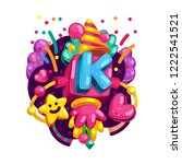 alphabet kids color font.... | Shutterstock .eps vector #1222541521