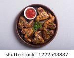 hot bbq . grilled chicken wings ...   Shutterstock . vector #1222543837