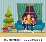 family sitting on sofa in the... | Shutterstock .eps vector #1222543981