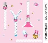 set of fashion glitter zippers. ... | Shutterstock .eps vector #1222546891