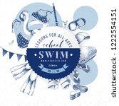 swim school round paper emblem... | Shutterstock .eps vector #1222554151