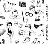 swimming school hand drawn... | Shutterstock .eps vector #1222554154