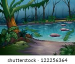 illustration of crocodiles in a ... | Shutterstock .eps vector #122256364