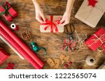 diy gift wrapping. woman... | Shutterstock . vector #1222565074