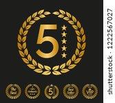 golden laurel wreath with stars ... | Shutterstock .eps vector #1222567027