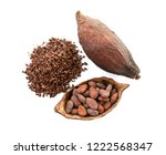 cocoa pods and cocoa beans and... | Shutterstock . vector #1222568347