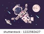 astronaut conquers open space... | Shutterstock .eps vector #1222582627