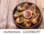 grilled chicken legs with...   Shutterstock . vector #1222586197