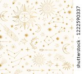 golden pattern with shooting... | Shutterstock .eps vector #1222590337