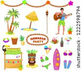 hawaii party vector woman or... | Shutterstock .eps vector #1222598794