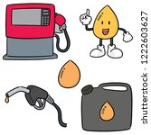 vector set of gas and fuel | Shutterstock .eps vector #1222603627