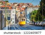 tram on line 28 in lisbon ... | Shutterstock . vector #1222605877