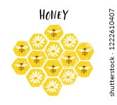 honey label with hand drawn... | Shutterstock .eps vector #1222610407