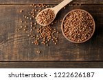 dry buckwheat groats in a... | Shutterstock . vector #1222626187