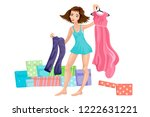 the girl in underwear gathers... | Shutterstock .eps vector #1222631221