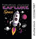 space theme slogan graphic with ... | Shutterstock .eps vector #1222667887