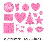 set merry christmas forms heart ... | Shutterstock .eps vector #1222668661