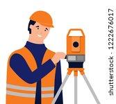 surveyor and theodolite.... | Shutterstock .eps vector #1222676017