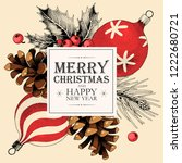 vector christmas card with... | Shutterstock .eps vector #1222680721