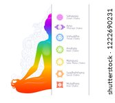 colorful meditating woman... | Shutterstock .eps vector #1222690231