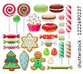 colorful christmas sweets set   ... | Shutterstock .eps vector #1222690237