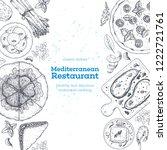 mediterranean food. top view... | Shutterstock .eps vector #1222721761