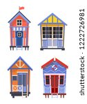 lifeguard bungalows or stations ...   Shutterstock .eps vector #1222726981
