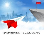 paper plane goes to flag red on ... | Shutterstock .eps vector #1222730797