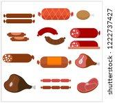 vector meat products. beef ... | Shutterstock .eps vector #1222737427
