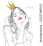 young beautiful woman with crown | Shutterstock .eps vector #1222748311