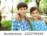 beautiful brother and sister... | Shutterstock . vector #1222749244