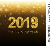 2019 golden new year banner... | Shutterstock . vector #1222754251
