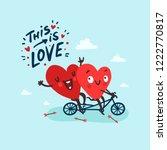 two happy hearts in love biking.... | Shutterstock .eps vector #1222770817