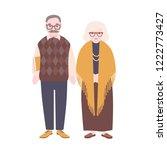 cute happy elderly couple... | Shutterstock .eps vector #1222773427
