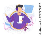 customer service operator... | Shutterstock .eps vector #1222777357