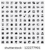 vector black 100 web icons set... | Shutterstock .eps vector #122277901